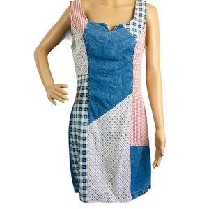 Vintage Paris Blues Denim Patchwork BOHO Dress sz9